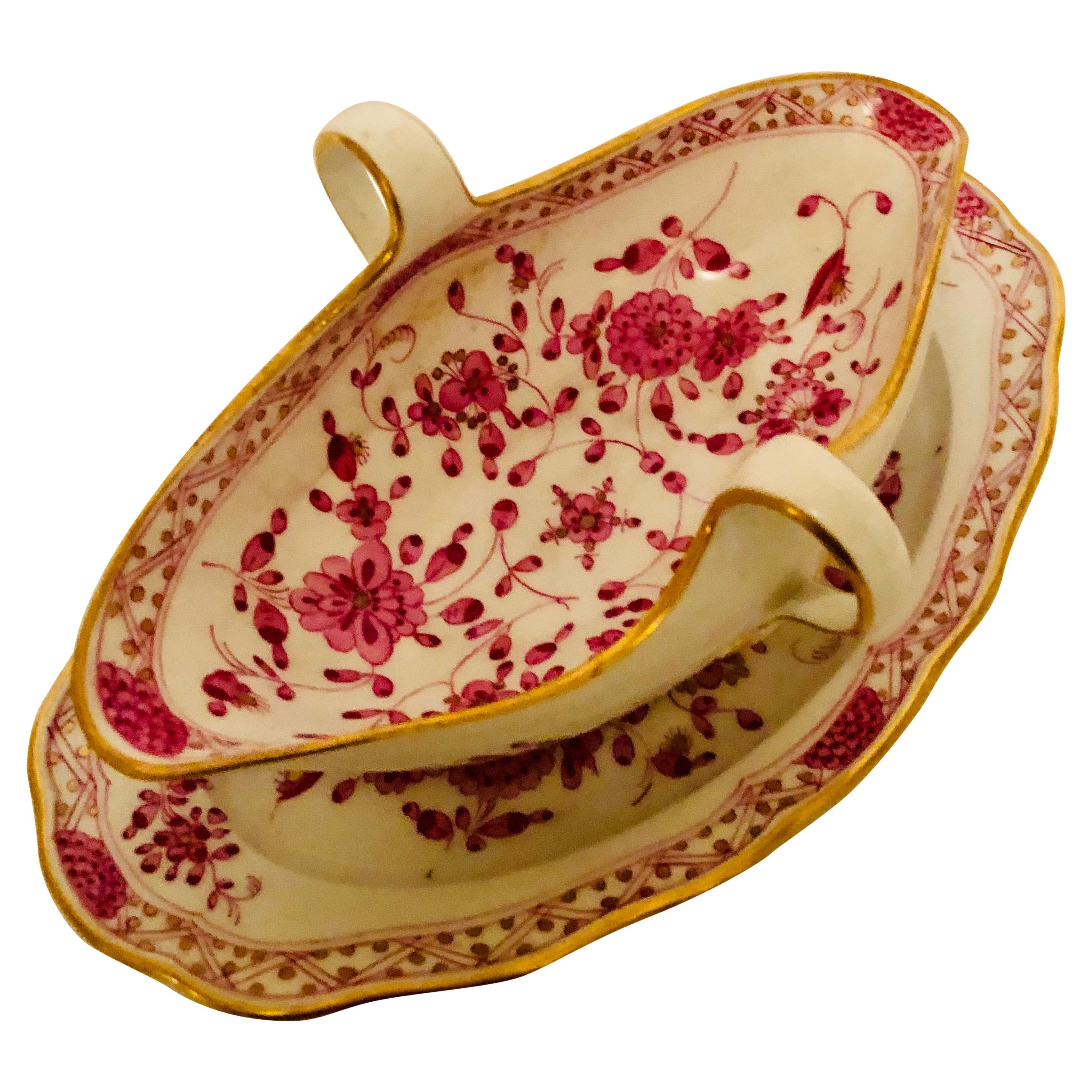 Meissen Purple Indian Gravy with Attached Underplate from the Late 19th Century
