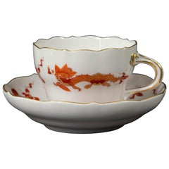 Meissen, Red Dragon, Teacup and Saucer