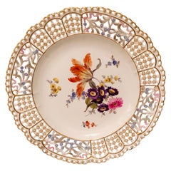 Meissen Reticulated Cabinet Plate with Large Bouquet and Raised Forget Me Nots