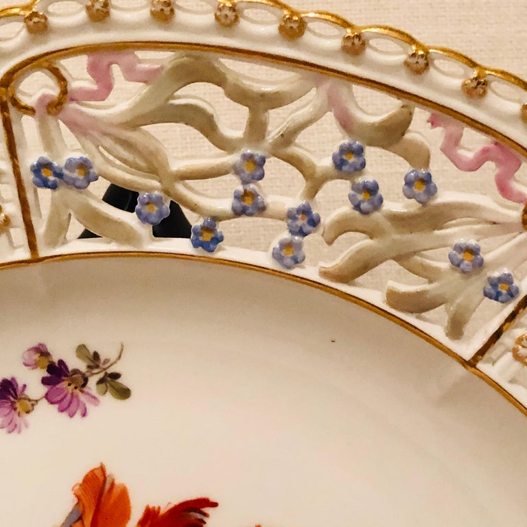 Late 19th Century Meissen Reticulated Plate Painted with Flower Bouquet and Raised Forget Me Nots For Sale