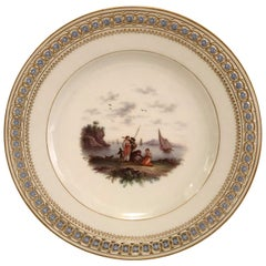 Meissen Reticulated Plate with Raised Forget Me Nots and Painting of a Seascape