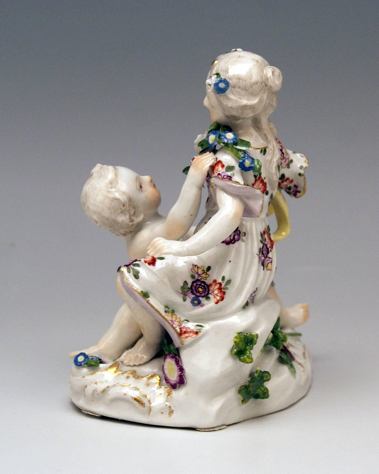 Painted Meissen Rococo Cupids Pair Flora and Zephyr Model 2576 by Kaendler, circa 1760 For Sale