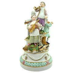 Meissen Rococo Group Four Children Playing Music by Kaendler, circa 1800