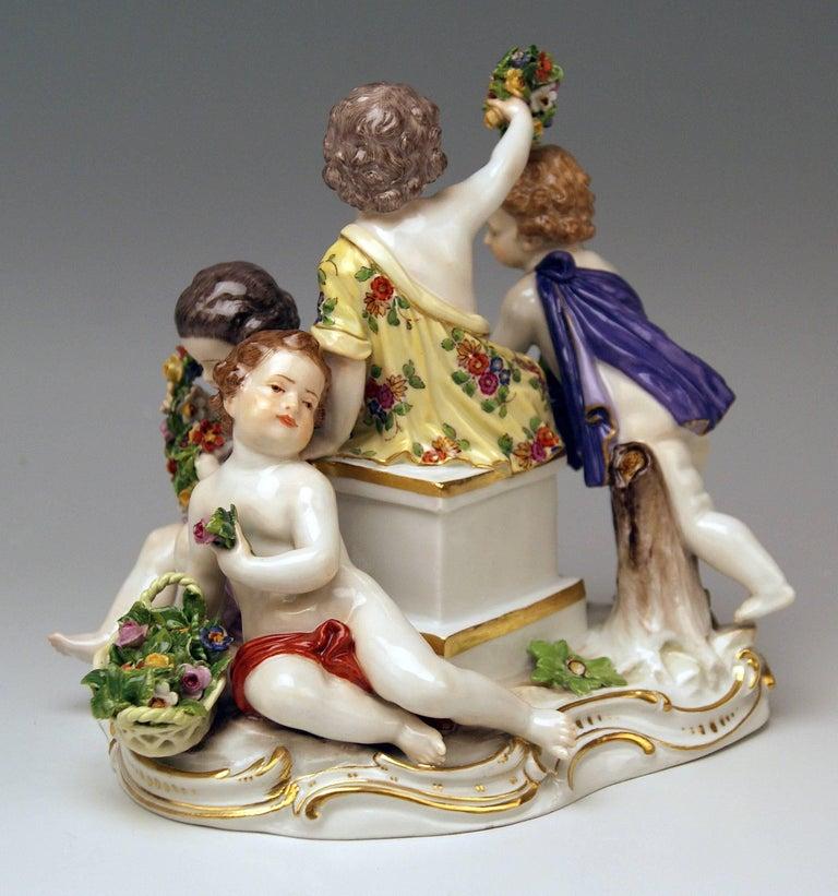 German Meissen Seasons Figurines Cupids Allegory of Spring Model 2502 Kaendler For Sale