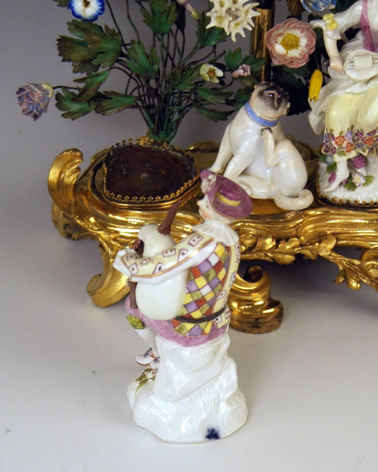 Meissen Ormolu Set Mantel Table Clock Two Candlesticks Porcelain Kaendler, 1770 For Sale 2