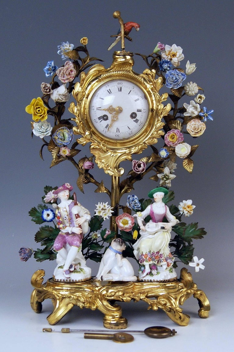 German Meissen Ormolu Set Mantel Table Clock Two Candlesticks Porcelain Kaendler, 1770 For Sale