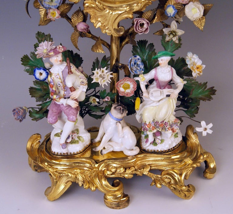Gilt Meissen Ormolu Set Mantel Table Clock Two Candlesticks Porcelain Kaendler, 1770 For Sale
