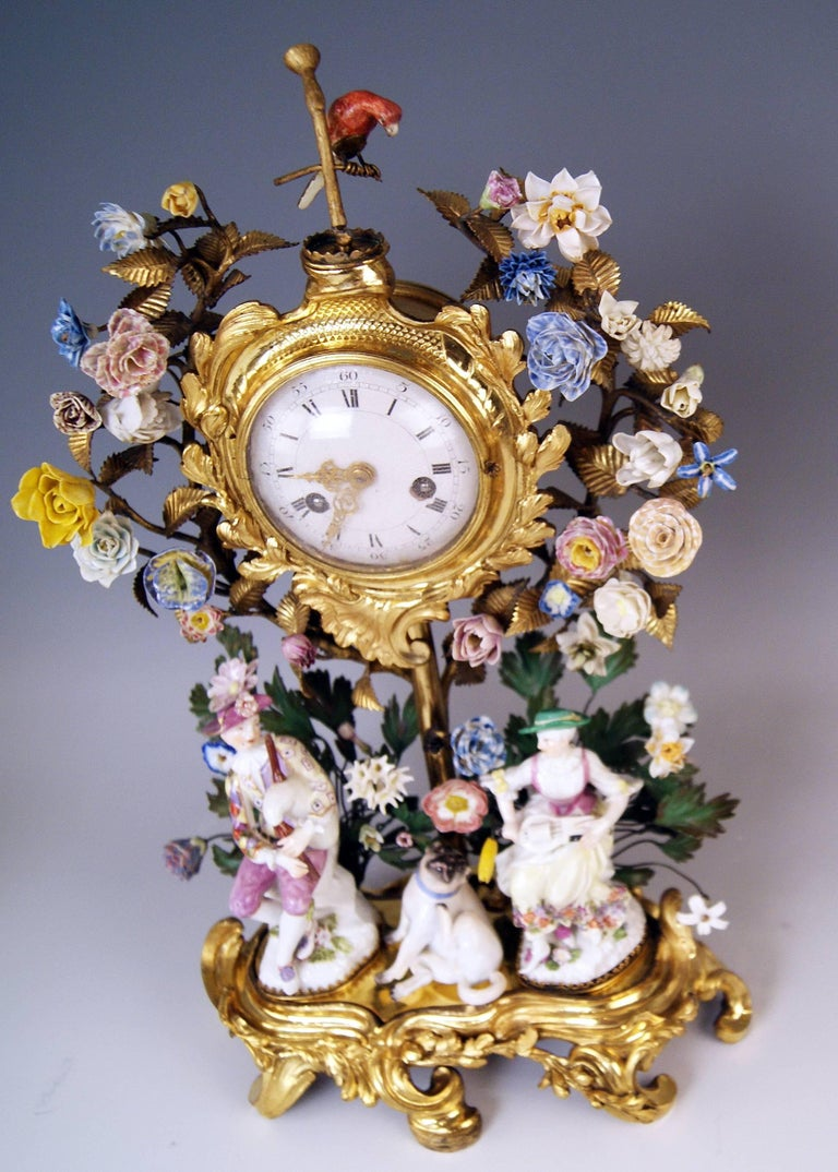 Mid-18th Century Meissen Ormolu Set Mantel Table Clock Two Candlesticks Porcelain Kaendler, 1770 For Sale
