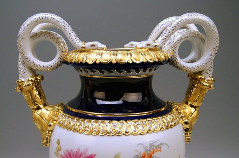 German Meissen Snake Handles Vase Dahlia Flowers Leuteritz E 116 Height 39cm by ca.1870