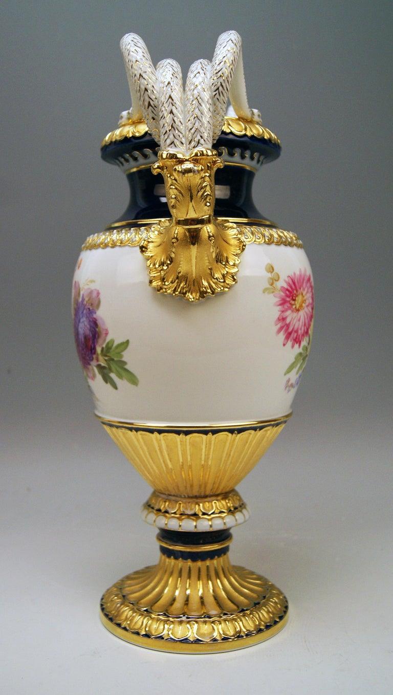 Painted Meissen Snake Handles Vase Dahlia Flowers Leuteritz E 116 Height 39cm by ca.1870
