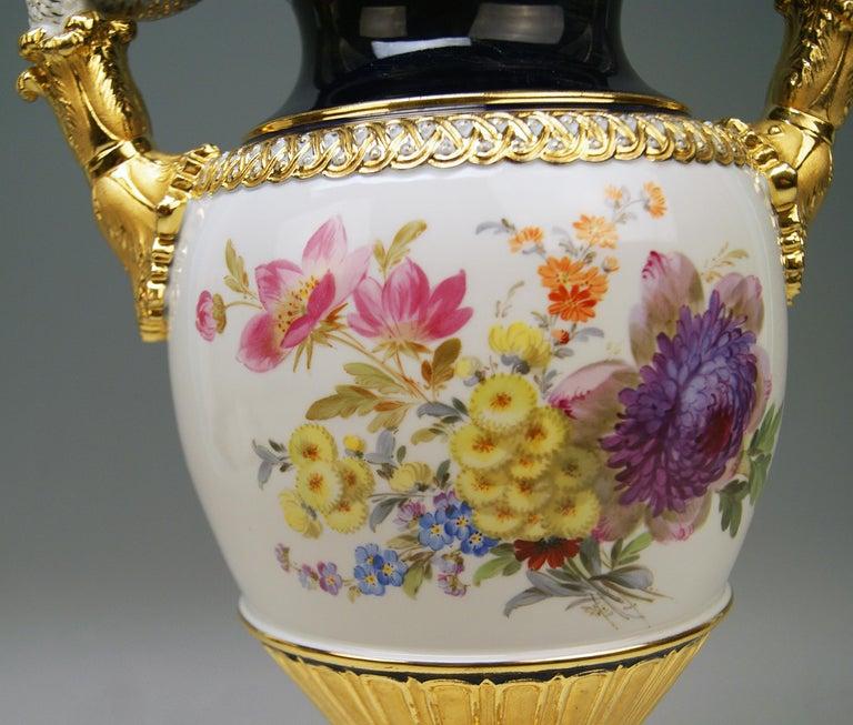 Late 19th Century Meissen Snake Handles Vase Dahlia Flowers Leuteritz E 116 Height 39cm by ca.1870
