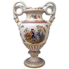Meissen Snake Handles Vase Flowers Figurines A 148 Height Made 1870