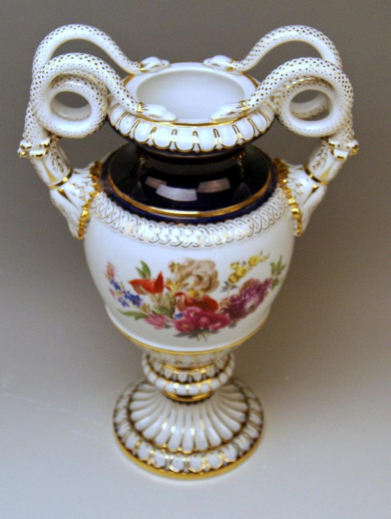 Neoclassical Revival Meissen Snake Handles Vase Painted by Leuteritz, circa 1870 For Sale