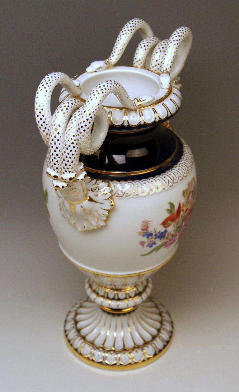 German Meissen Snake Handles Vase Painted by Leuteritz, circa 1870 For Sale