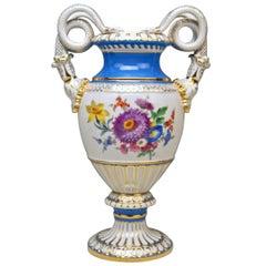 Meissen Snake Handles Vase Painted Model E 116 Design by Leuteritz, 1924-1934