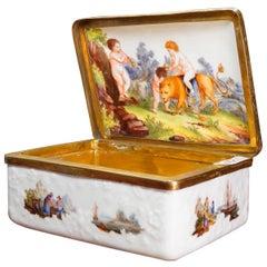 Meissen Snuff Box with Fishing Scenes, Interior with Lion & Children, circa 1755