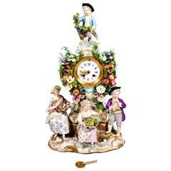 Meissen Splendour Clock with Gardener Figures by E.A. Leuteritz, circa 1880