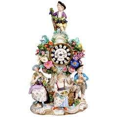Meissen Splendour Clock with Gardener Figures by E.A. Leuteritz, circa 1880