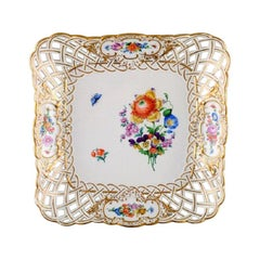 Meissen, Square Dish in Pierced Porcelain Decorated with Flowers and Gold Border