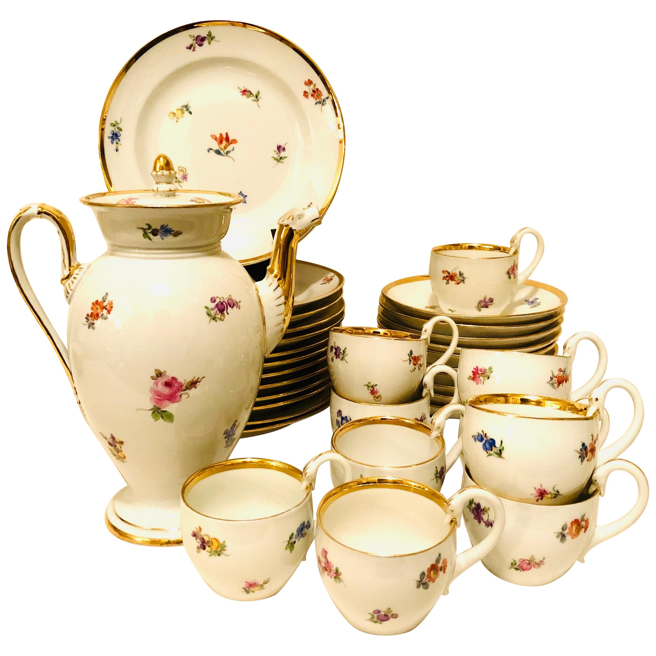 Meissen Streublumen Tea Set for 10 with Cups and Saucers, Cake Plates and Teapot