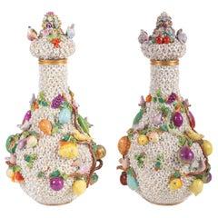 Meissen Style Schneeballen Lidded Vases, circa 1900
