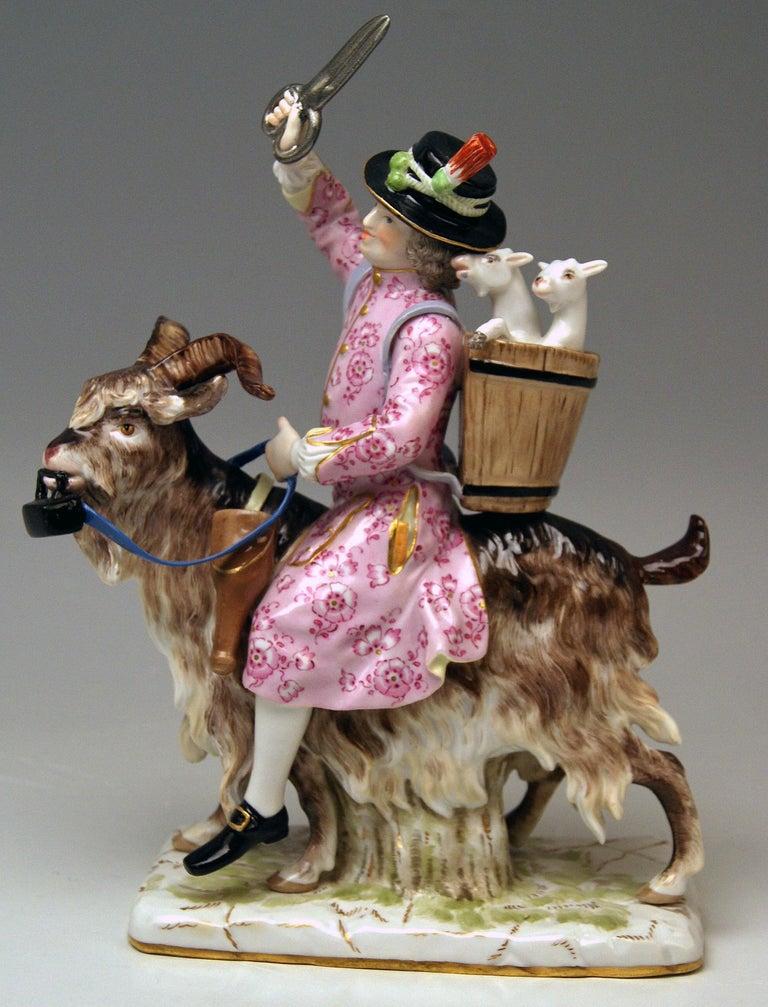 Meissen Tailor & Wife of Tailor on Goat Models 171 155 by Kaendler Eberlein 1860 2