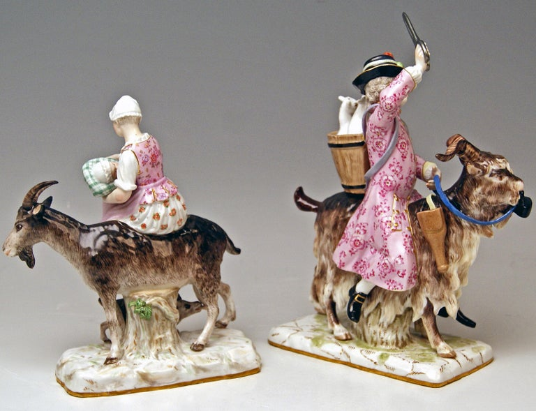 Meissen Stunning Pair of Figurines:  Tailor of Count Bruehl Riding on Goat & Wife of Tailor Riding on Goat   Manufactory:Meissen Dating:  19th century / made circa 1860 - 70 Material:  white porcelain, glossy finish, finest painting  Technique:
