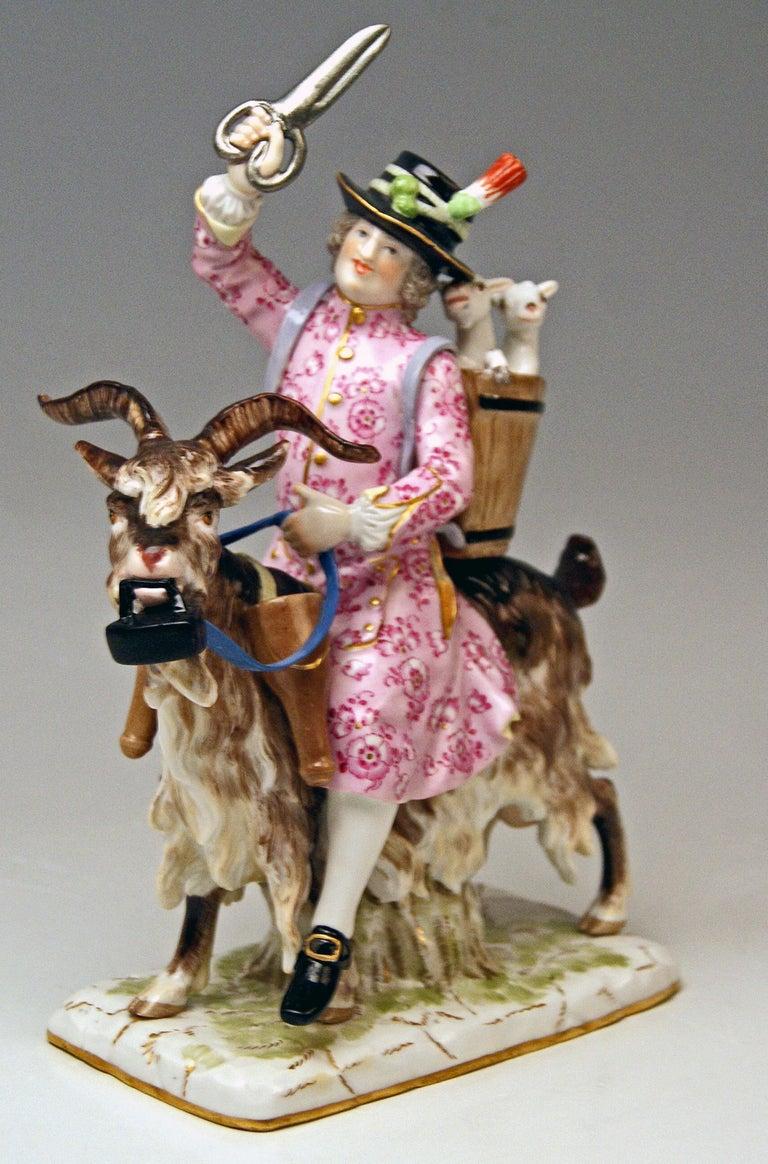 Mid-19th Century Meissen Tailor & Wife of Tailor on Goat Models 171 155 by Kaendler Eberlein 1860