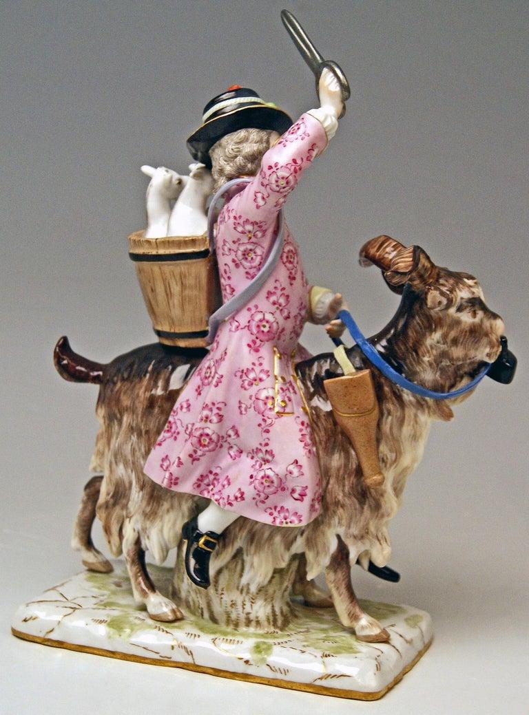 Porcelain Meissen Tailor & Wife of Tailor on Goat Models 171 155 by Kaendler Eberlein 1860