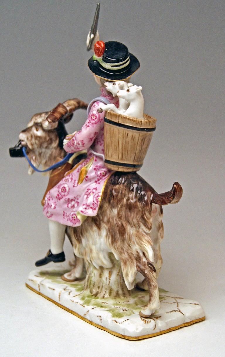 Meissen Tailor & Wife of Tailor on Goat Models 171 155 by Kaendler Eberlein 1860 1