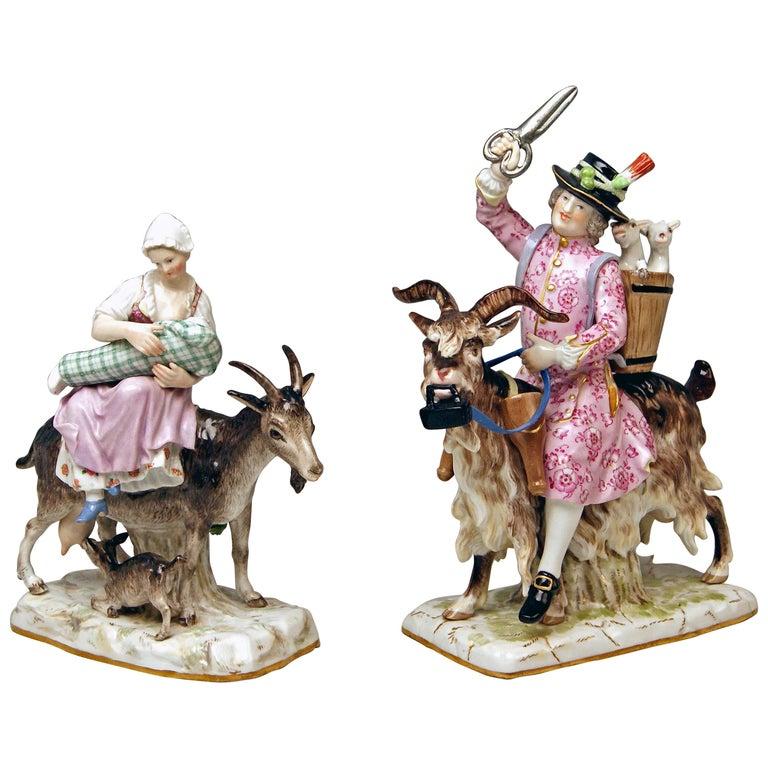Meissen Tailor & Wife of Tailor on Goat Models 171 155 by Kaendler Eberlein 1860
