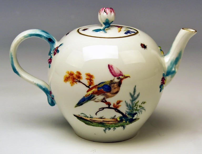 We invite you here to look at asplendid as well asrare Meissen lidded tea pot: It is made of white porcelain / multicolored paintings consist of various birds' figurines of very special specimen (= multicolored feathers) / these birds sit on leafy