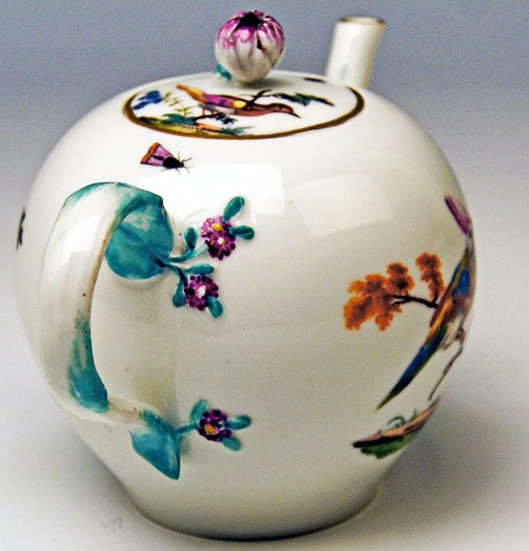 Hand-Painted Meissen Tea Pot Rococo Period Birds Paintings Höroldt Era, 1763-1774 For Sale