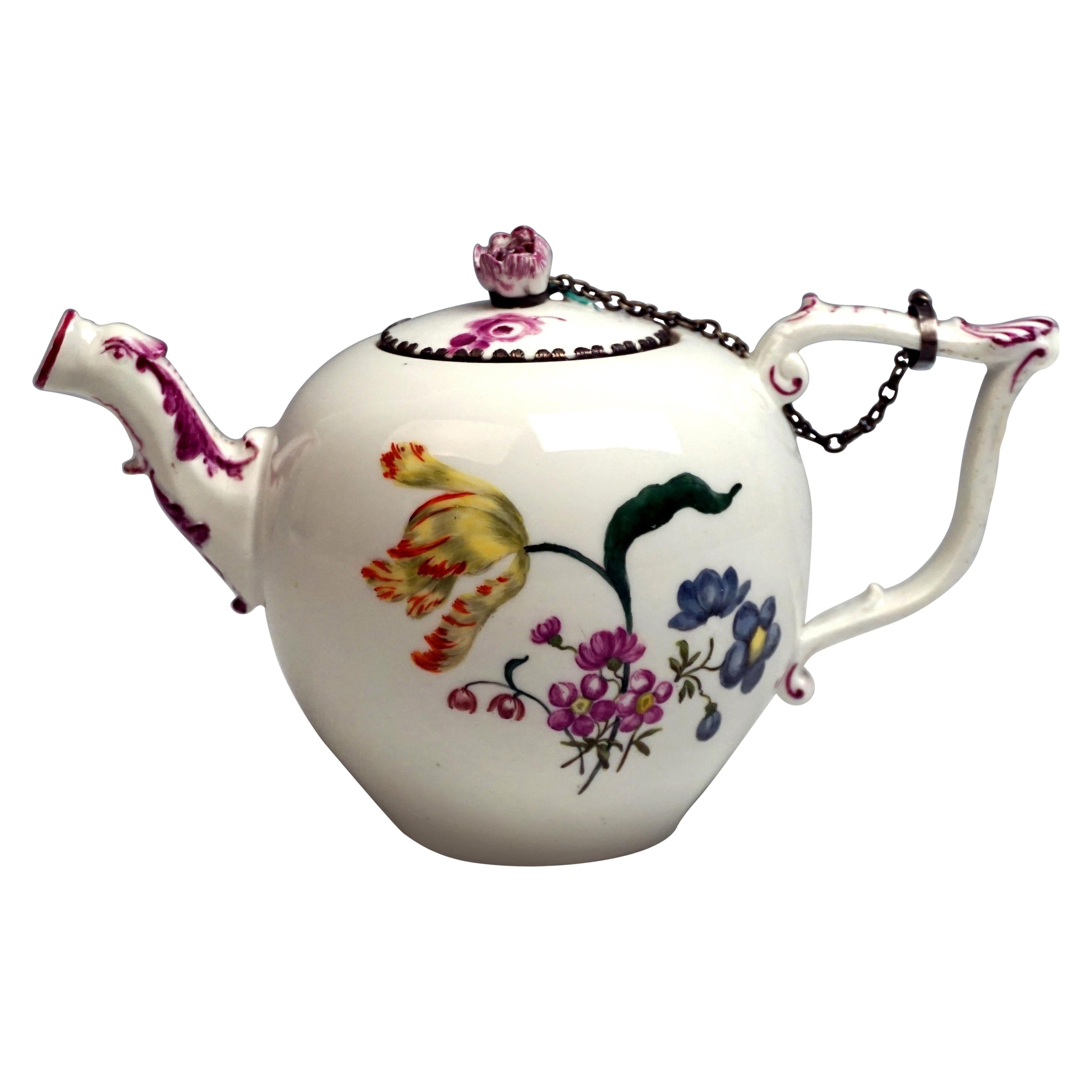 Meissen Tea Pot with Animal Spout and Flower Decoration Rococo Period circa 1740