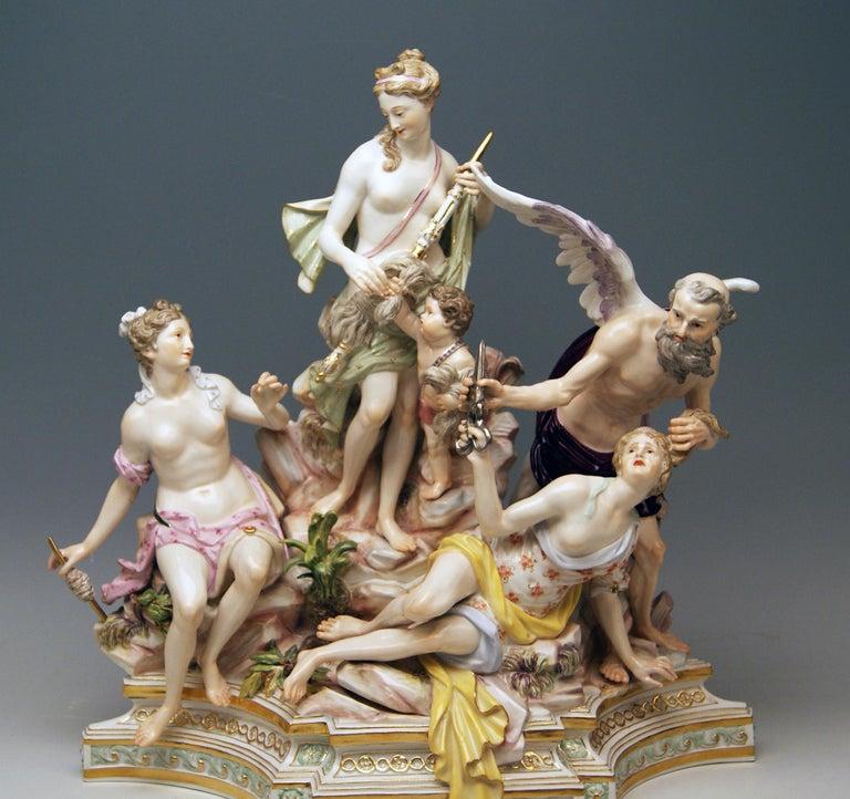 Meissen Most Remarkable Figurine Figurine Group: The Three Fates Model 33  Size: height: 14.96 inches (= 38.0 cm) depth: 5.90 inches (= 15.0 cm) width: 12.59 inches (= 32.0 cm)  Manufactory: Meissen Hallmarked: Blue Meissen Sword Mark