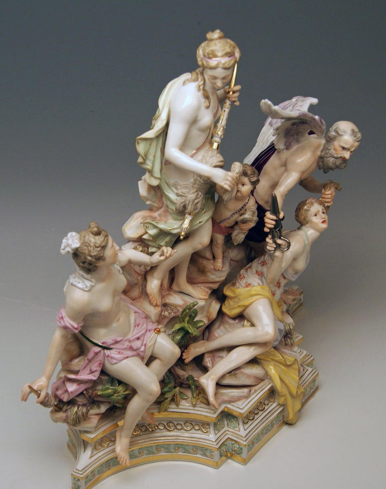 Painted Meissen Three Fates for Czarina Katharina the Great Model 33 Kaendler circa 1880 For Sale