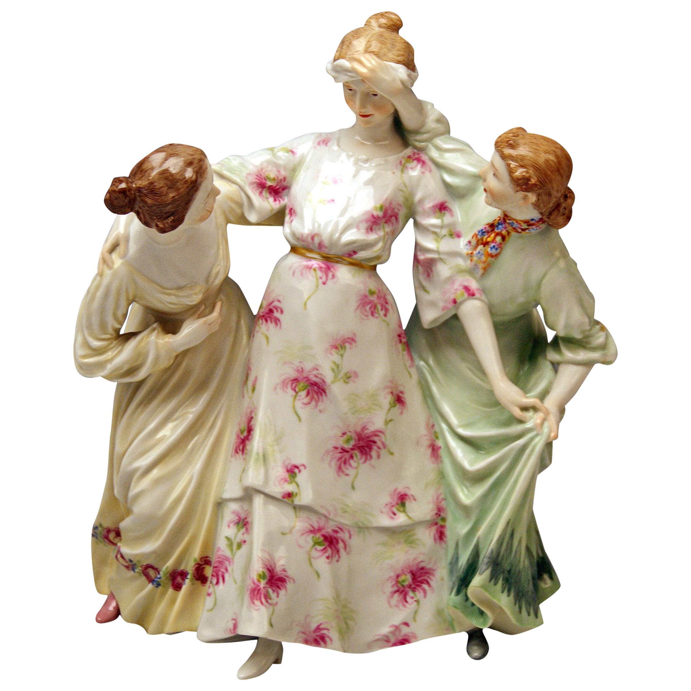Meissen Three Girls Playing Hide and Seek by Theodore Eichler Model W 115