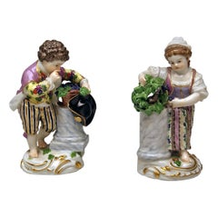 Meissen Two Children Seasons Figurines The Fall Model F 24 Acier, circa 1870