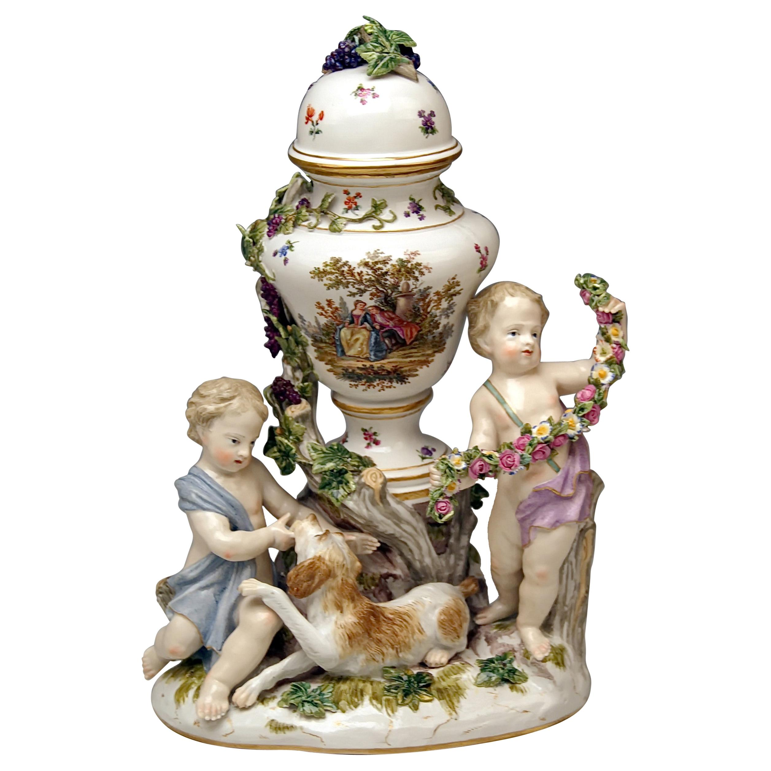 Meissen Urn Vase with Two Cherubs by Kaendler Model 1009 Made circa 1830-1840