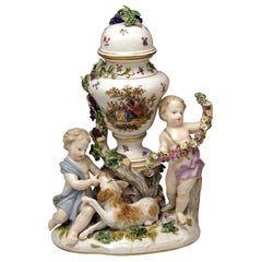 Meissen Urn Vase with Two Cherubs by Kaendler Model 1009 Made circa 1830-1840