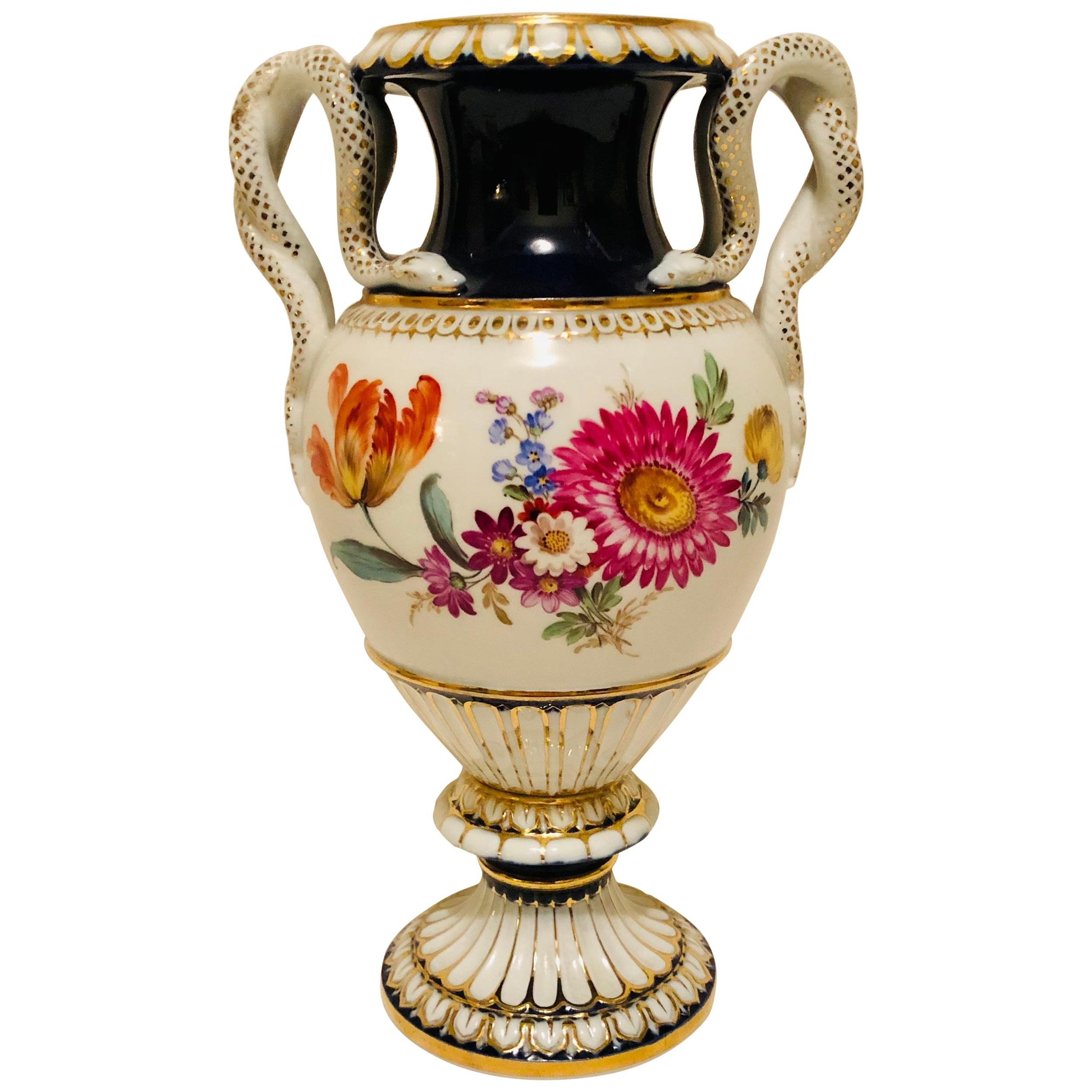 Meissen Vase with Different Flower Bouquets on Either Side and Snake Handles