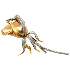 Meister Diamond Rose Brooch in 18 Karat Yellow and White Gold