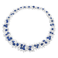 Meister Modernist Sapphire and Diamond Set Gold Necklace