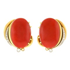 Meister Natural Coral and Diamond Gold Earrings