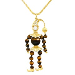 "Meister Tiger's Eye and Diamond Set Gold ""Jester"" Pendant"