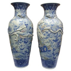 Meji Period Pair of 3 Claw Dragon Japaneses Blue and White Vases