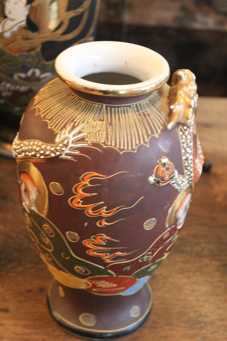 Japonisme Mejii Early 20th Century Satsuma Vase For Sale