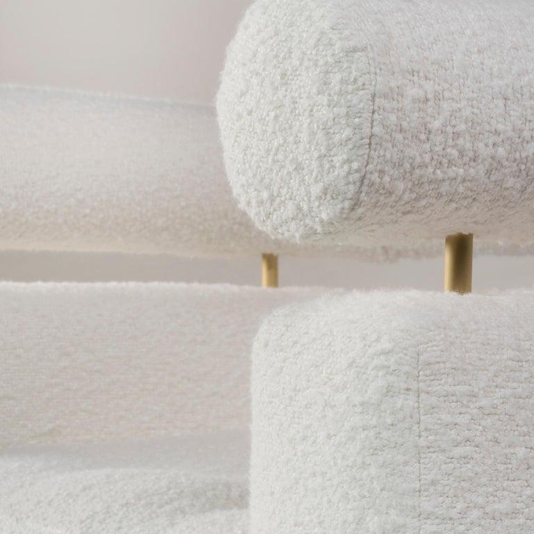 Mel Armchair Wood Brass Beige Jacquard Velvet Pearl Cotton Linen Bouclé Fabric For Sale 5