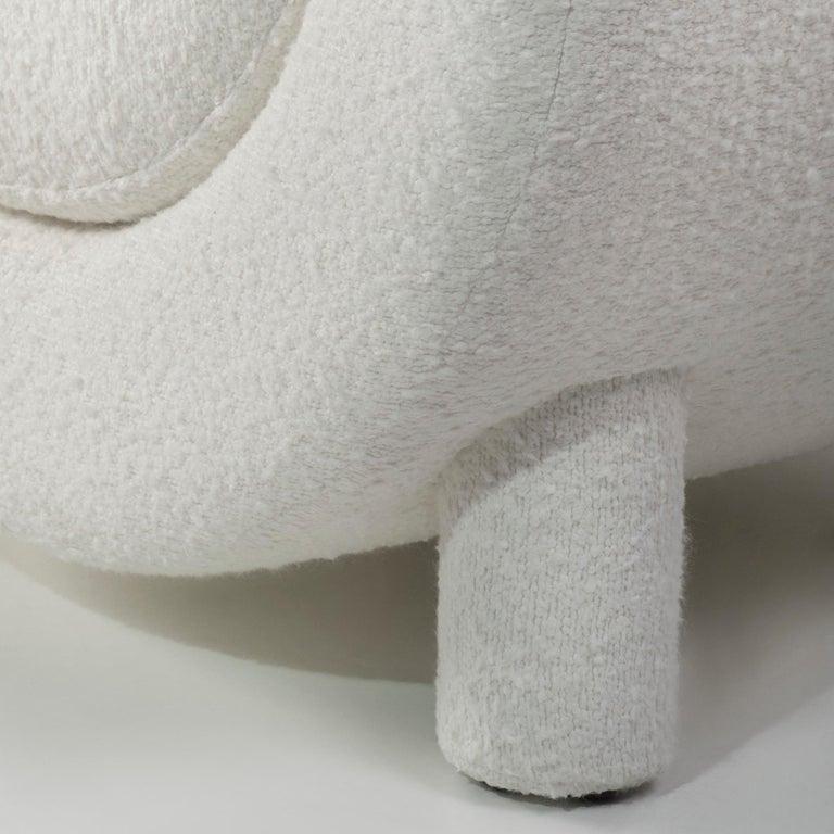 Mel Armchair Wood Brass Beige Jacquard Velvet Pearl Cotton Linen Bouclé Fabric For Sale 6