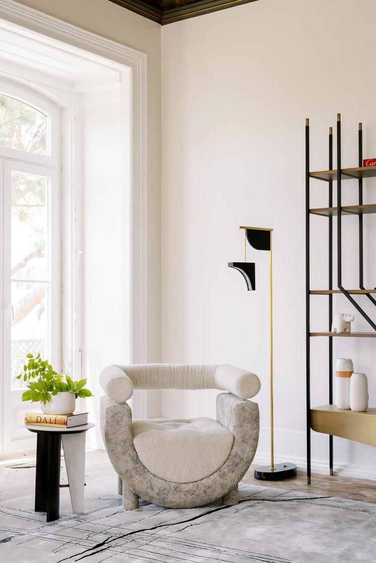 Mel Armchair Wood Brass Beige Jacquard Velvet Pearl Cotton Linen Bouclé Fabric For Sale 7